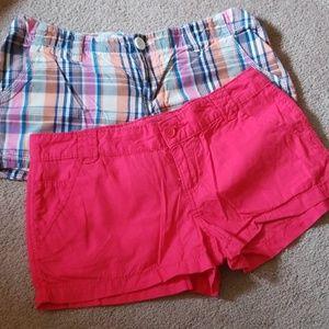 2 pairs of womans juniors mini shorts size 7